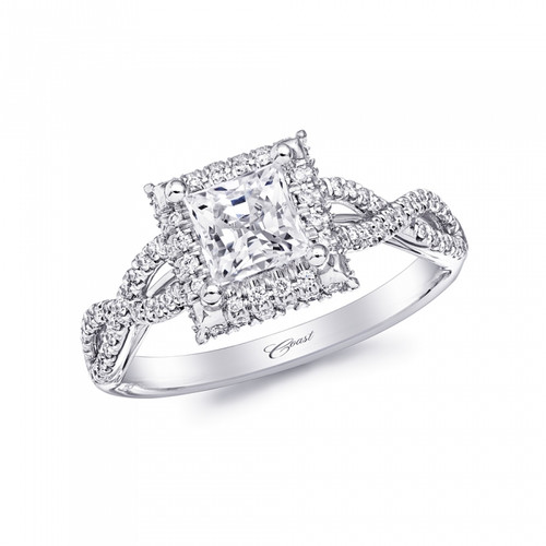 Square Halo Braided Engagement Ring Setting (0.30ctw)