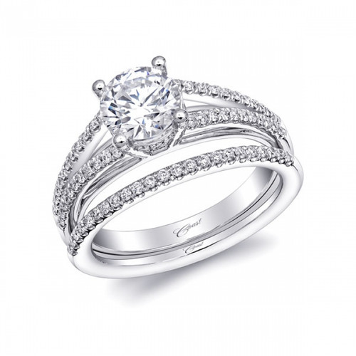 Split-Shank Engagement Ring Setting (0.25ctw) with matching Wedding Band