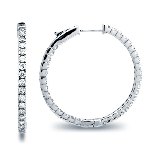 Classic Four Prong Hoop Earrings (1.99ctw)