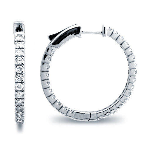 Classic Four Prong Hoop Earrings (1.37ctw)