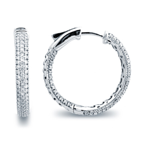 Micro Pave Hoop Earrings (1.14ctw)