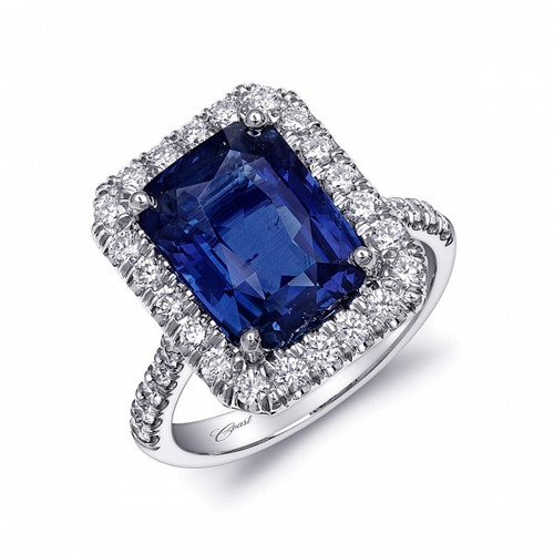6.99ct Radiant Cut Sapphire Centerstone Signature Color Collection Diamond Ring