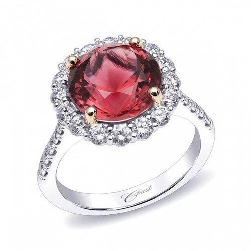 4.70ct Round Cut Pink Tourmaline Centerstone Signature Color Collection Diamond Ring