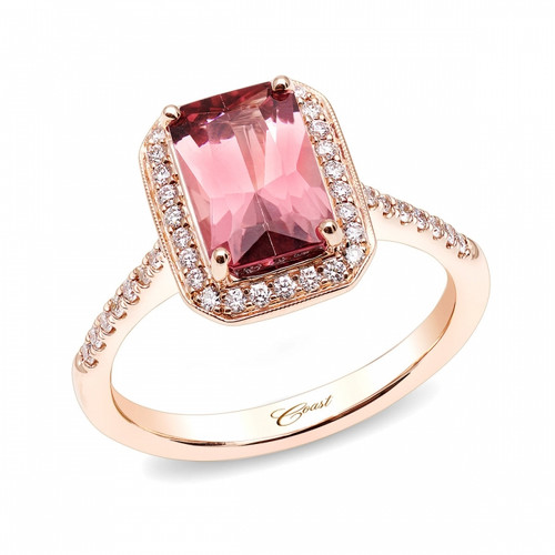 2.01ct Radiant Cut Pink Tourmaline Centerstone Signature Color Collection Diamond Ring