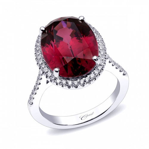 11.90ct Oval Garnet Centerstone Signature Color Collection Diamond Ring