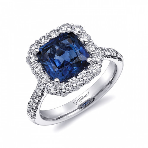 3.18ct Cushion Cut Sapphire Centerstone Signature Color Collection Diamond Ring