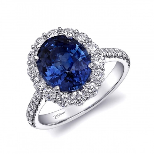 3.65ct Oval Sapphire Centerstone Signature Color Collection Diamond Ring