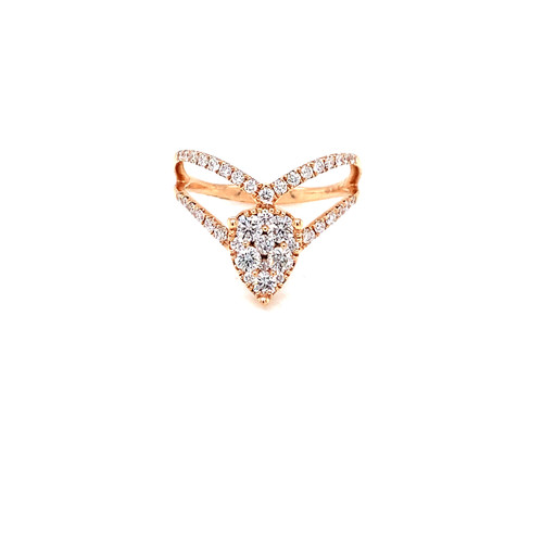 Pear Shape Cluster Diamond Ring 0.76ct. Round Brilliant Diamonds G-Color SI1-Clarity 18K Rose Gold
