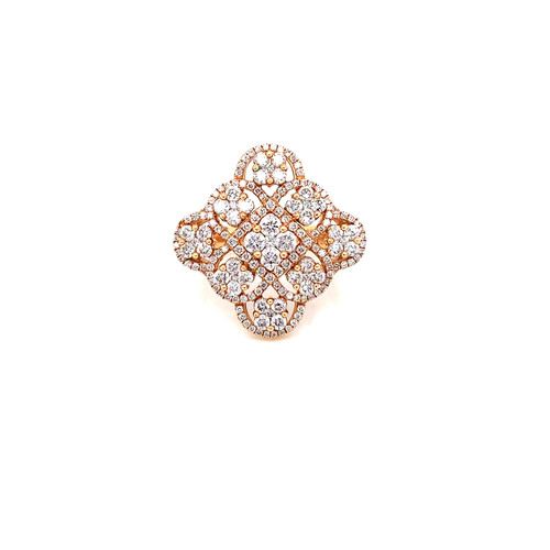 Fancy Diamond Right Hand Ring 2.21ct. Round Brilliant Diamonds G-Color SI1-Clarity 18K Rose Gold
