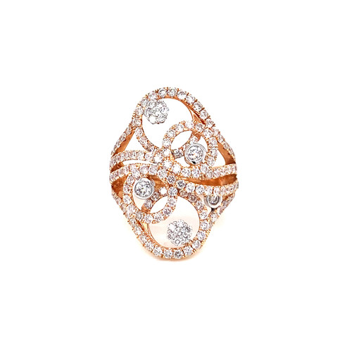 Fancy Rose Gold Right Hand Ring 2.21ct. Round Brilliant Diamonds G-Color SI1-Clarity 18K Rose Gold