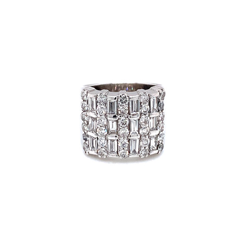Three Row Diamond and Baguette Ring 0.84ct. Baguettes 0.75ct. Round Brilliant Diamonds G-Color VS2-Clarity 14K White Gold