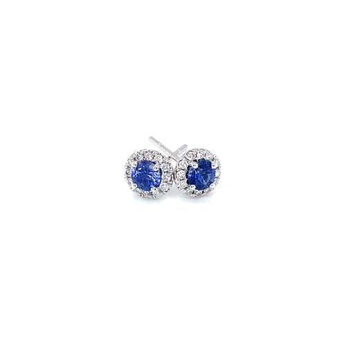 Blue Sapphire Halo Stud Earrings 0.18ct. Total Weight Round Brilliant Diamonds  0.63ct. Total Weight Blue Sapphires 14K White Gold