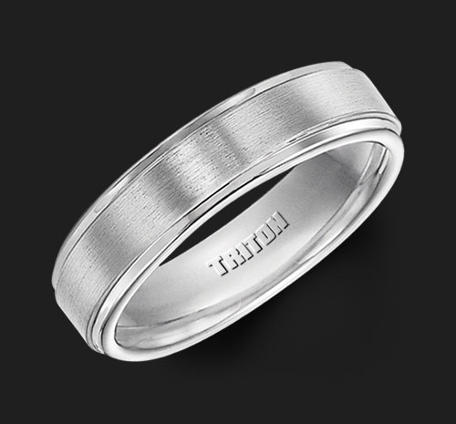 6mm White Tungsten Carbide Satin Finish Flat Center with Bright Step Edge Comfort Fit Men's Wedding Band