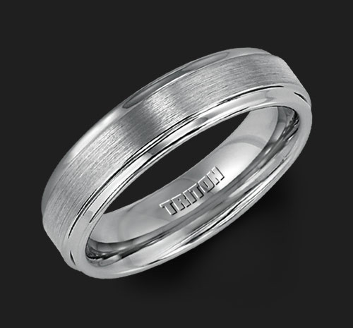 6mm Gray Tungsten Carbide Satin Finish Flat Center with Bright Step Edge Comfort Fit Men's Wedding Band