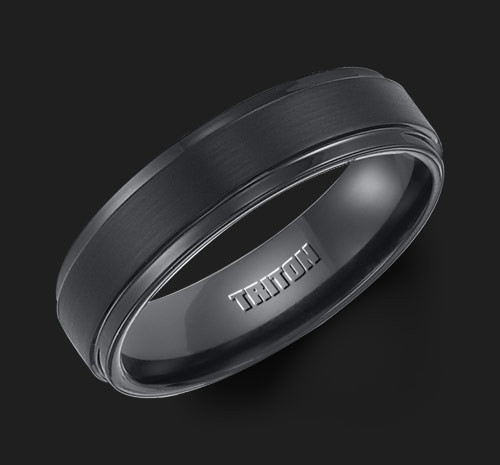 6mm Black Tungsten Carbide Satin Finish Flat Center with Bright Step Edge Comfort Fit Men's Wedding Band