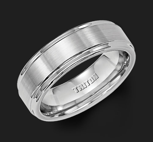 7mm White Tungsten Carbide Brush Finish Flat with Bright Round Rims Comfort Fit Wedding Band