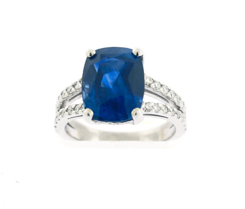 5.76ct Cushion Cut Sapphire Limited Edition Diamond Ring