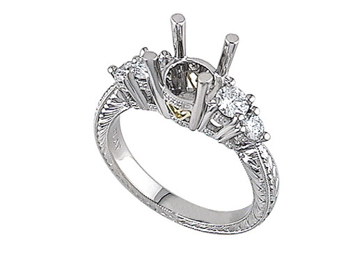 Hand-Engraved Platinum Setting with 0.58ctw in Diamonds