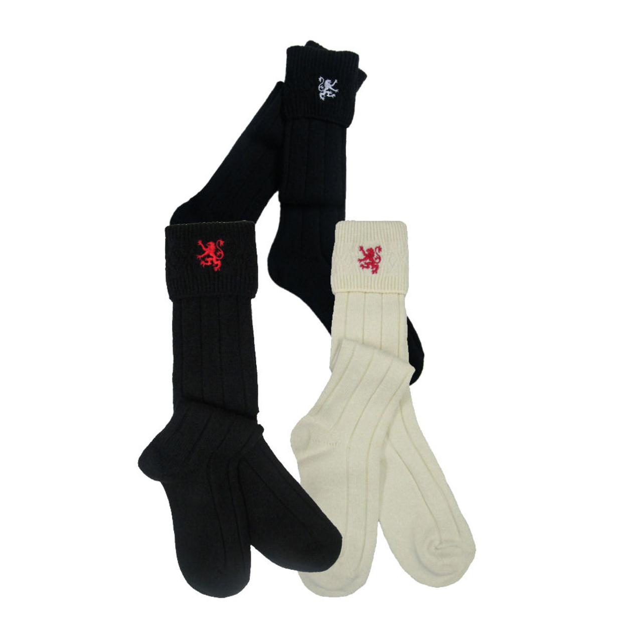 Gleann Righ Mens Lion /& Saltire Wool Kilt Hose Socks