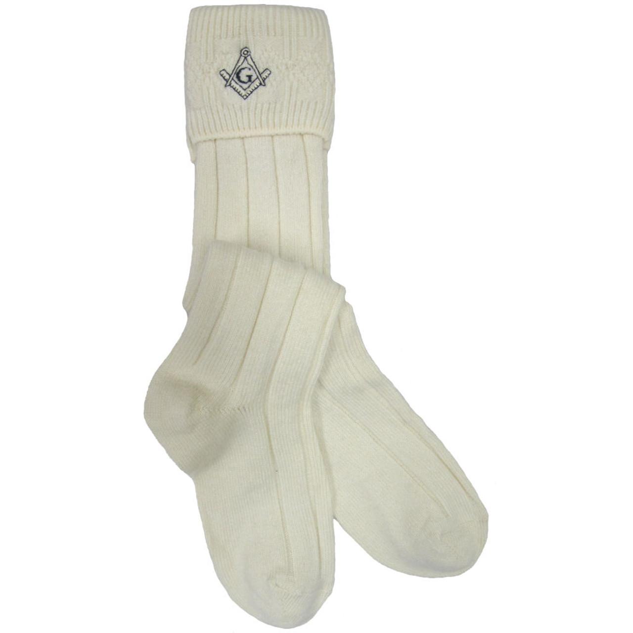 Ecru Kilt Hose//Socks With Scottish Thistle Size 9.5-13
