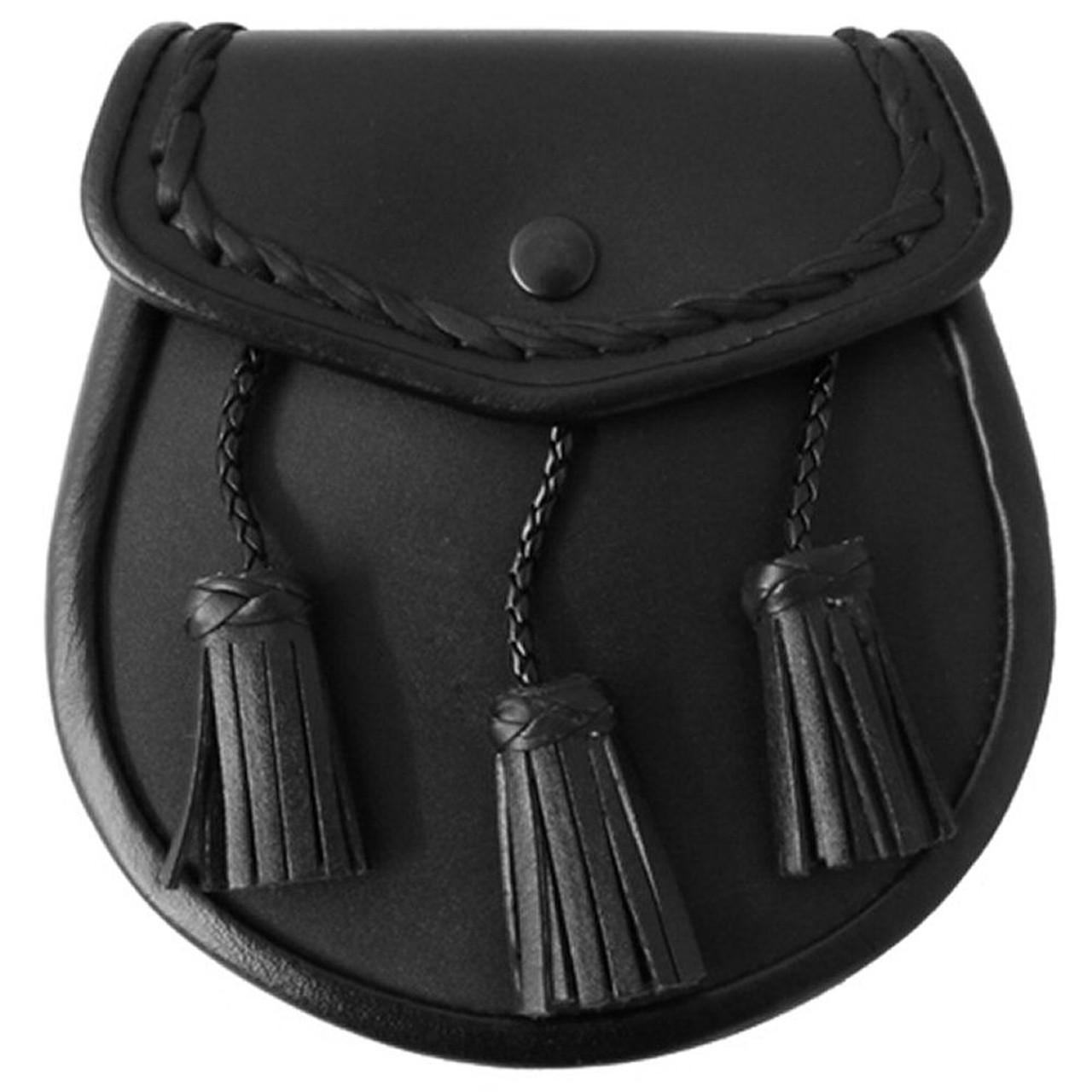 Men/'s Scottish Black Leather Kilt Belt With Thistle Embossed On Front Side