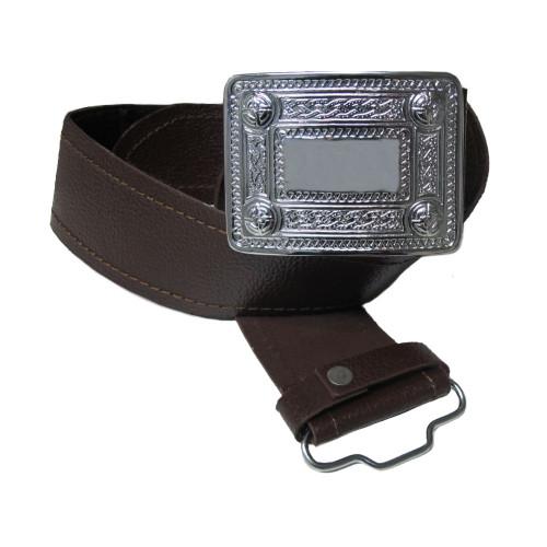 Mens Glen Esk Scottish Black Leather Sporran BeltSizes S-4XL