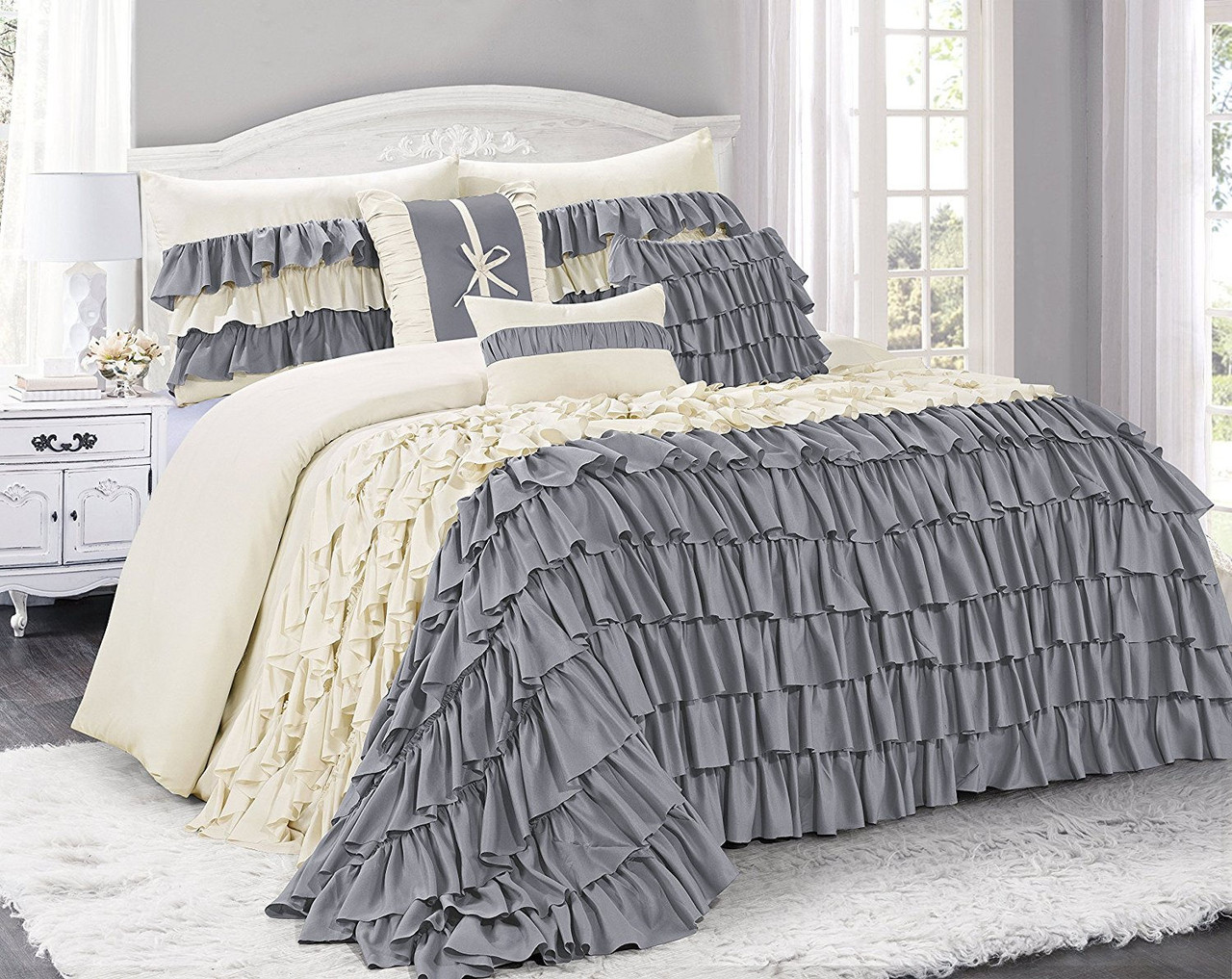 King 7 PIECE COMFORTER SET Cal King Queen BED IN A BAG 2 COLORS