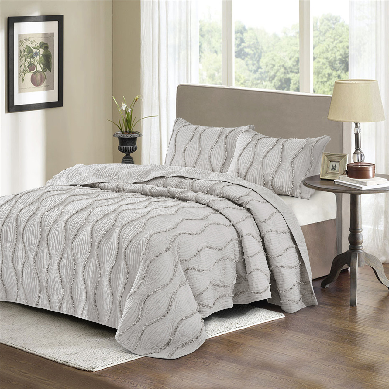 Hig 3 Piece Embroidered Quilt Set Bed In A Bag