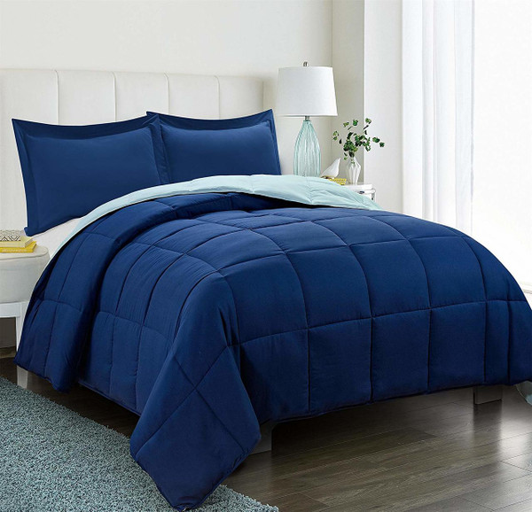3pc Down Alternative Comforter Set Navy Blue - All Season Reversible Comforter with Two Shams - Quilted Duvet Insert with Corner Tabs - Box Stitched-Soft, Fluffy, Breathable