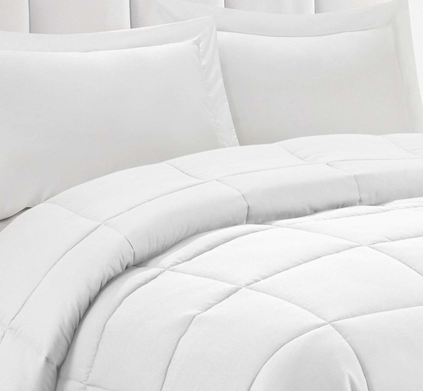 3pc Down Alternative Comforter Set Pure White- All Season Reversible Comforter with Two Shams - Quilted Duvet Insert with Corner Tabs - Box Stitched-Soft, Fluffy, Breathable