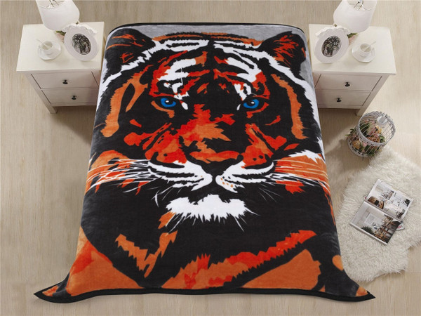 """Premium Thick Blanket with Double Layer Reversible Plush Raschel Blanket Tiger Printed - Supersoft, Warm, Silky, Hypoallergenic, Fade Resistant in Queen Size (79""""x87"""", R01- Tiger Head)"""