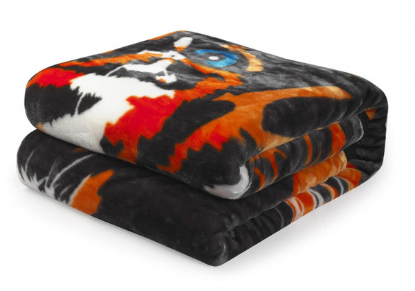 "Premium Thick Blanket with Double Layer Reversible Plush Raschel Blanket Tiger Printed - Supersoft, Warm, Silky, Hypoallergenic, Fade Resistant in Queen Size (79""x87"", R01- Tiger Head)"