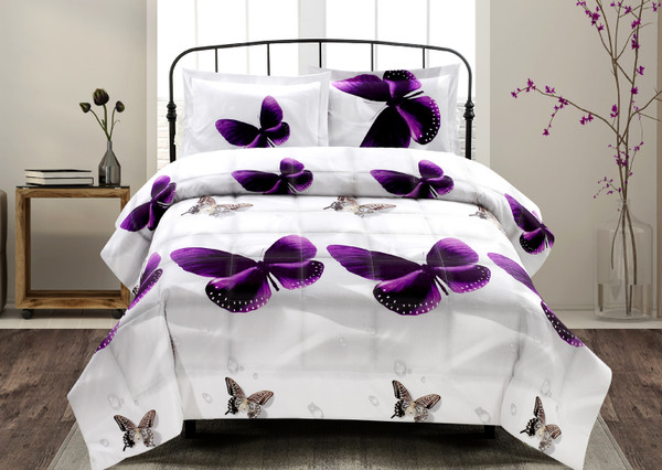 3D Comforter Set - 3 Piece 3D Purple Butterfly Reactive Print Comforter Set (Y34) - Box Stitched, Soft, Breathable, Hypoallergenic, Fade Resistant -Includes 1 Comforter, 2 Shams