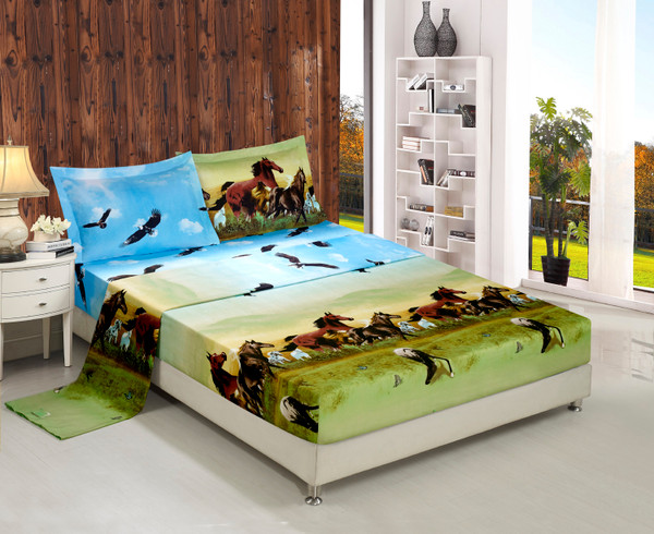 3D Bed Sheet Set -4 Piece 3D Horse and Eagle Printed Sheet Set (Y25) - Soft, Breathable, Hypoallergenic, Fade Resistant -Includes 1 Flat Sheet,1 Fitted Sheet,2 Shams