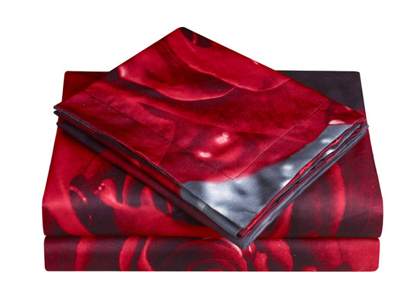 3D Bed Sheet Set -4 Piece 3D Rose and Love Printed Sheet Set (Y28) - Soft, Breathable, Hypoallergenic, Fade Resistant -Includes 1 Flat Sheet,1 Fitted Sheet,2 Shams