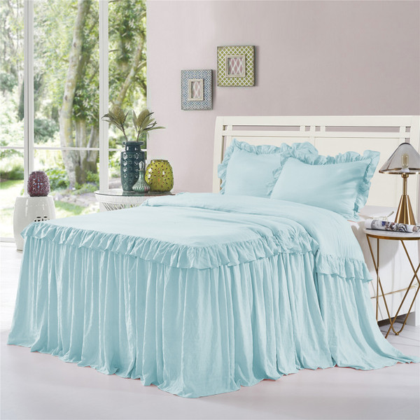 3 Piece Ruffle Skirt Bedspread Set Queen King Size- 30 inches Drop Ruffled Style Bed Skirt Coverlets Bedspreads Dust Ruffles- ALINA Bedding Collections (Aqua Color)