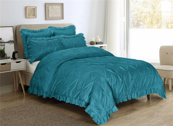 5 Piece Comforter Set Queen King Size -Pinch Pleat Scallop Fringe -HANIA Bedding Collection -Soft, Hypoallergenic,Fade Resistant-1 Comforter,2 Standard Shams,2 Euro Shams