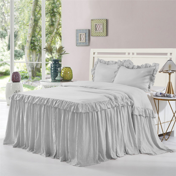 3 Piece Ruffle Skirt Bedspread Set Queen King Size- 30 inches Drop Ruffled Style Bed Skirt Coverlets Bedspreads Dust Ruffles- ALINA Bedding Collections (Gray Color)