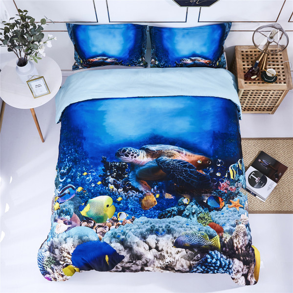 HIG 3D Bedding Set 3 Piece Queen Size Reactive Print Duvet Cover with Two matching Pillow Covers -Super Soft Duvet Cover -General for Men and Women Especially for children