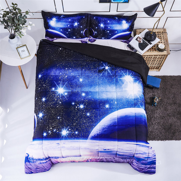 HIG 3D Bedding Set Queen King Size Reactive Animals and Floral Print Comforter Set - Box Stitched Quilted Duvet - General for Men and Women Especially for Children