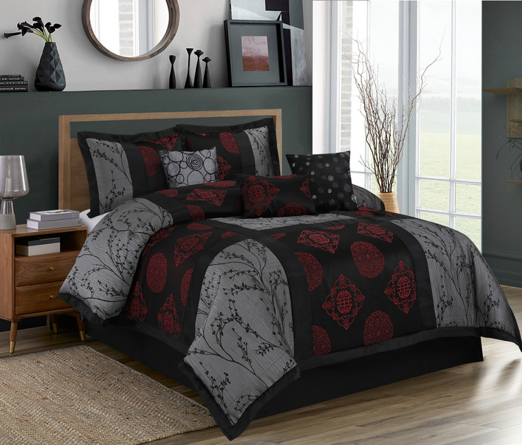 7 Piece Comforter Set - Gray and Black Jacquard Patchwork - SHANGRULA Bed In A Bag - Soft, Hypoallergenic,Fade Resistant-1 Comforter,2 Shams,3 Decorative Pillows,1 Bedskirt