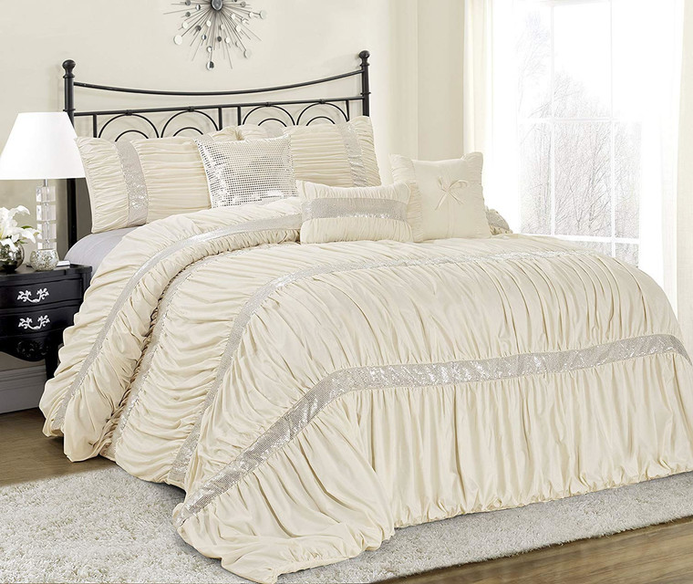 7 Piece Comforter Set -Ivory Color Chic Ruched Pleated-CLARAITA Bed in A Bag Set -Soft, Hypoallergenic,Fade Resistant-Include 1 Comforter,2 Shams,3 Decorative Pillows,1 Bedskirt