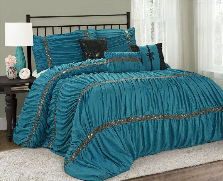 7 Piece Comforter Set -Teal Color Chic Ruched Pleated-CLARAITA Bed in A Bag Set -Soft, Hypoallergenic,Fade Resistant-Include 1 Comforter,2 Shams,3 Decorative Pillows,1 Bedskirt