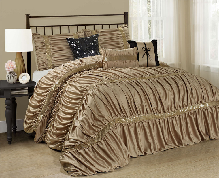 7 Piece Comforter Set -Gold Color Chic Ruched Pleated-CLARAITA Bed in A Bag Set -Soft, Hypoallergenic,Fade Resistant-Include 1 Comforter,2 Shams,3 Decorative Pillows,1 Bedskirt