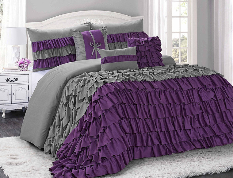7 Piece Comforter Set -Gray and Purple Color Ruffled-BRISE Bed in A Bag Set -Soft, Hypoallergenic,Fade Resistant-Include 1 Comforter,2 Shams,3 Decorative Pillows,1 Bedskirt