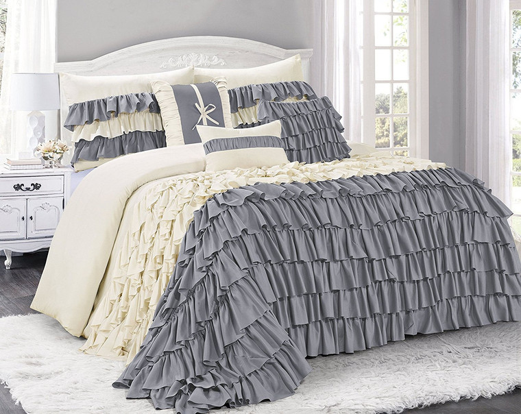 7 Piece Comforter Set -Gray and Ivory Color Ruffled-BRISE Bed in A Bag Set -Soft, Hypoallergenic,Fade Resistant-Include 1 Comforter,2 Shams,3 Decorative Pillows,1 Bedskirt