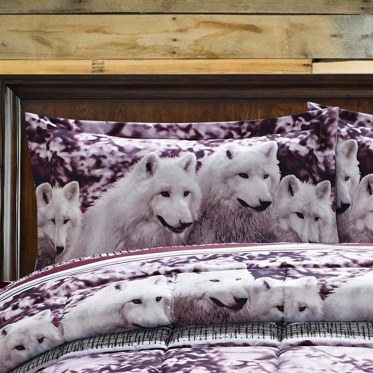 HIG 3D White Mountain Wolves Print Box Stiched Soft Breathable Comforter Set