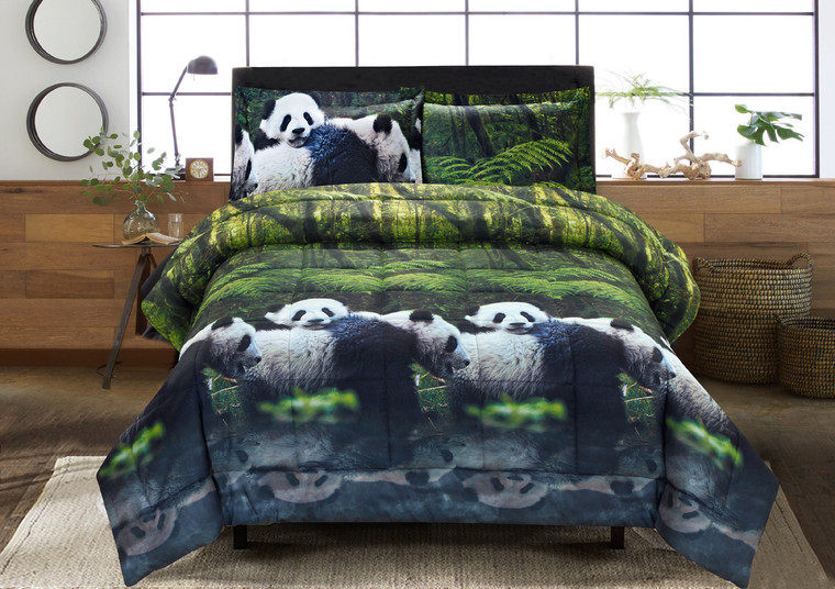 3D Comforter Set - 3 Piece 3D Panda Mom And Kids In Forest Print Comforter Set (Y29) - Box Stitched, Soft, Breathable, Hypoallergenic, Fade Resistant -Includes 1 Comforter, 2 Shams