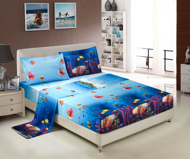 3D Bed Sheet Set -4 Piece 3D Wildlife Fishes and Corals Printed Sheet Set (D07) - Soft, Breathable, Hypoallergenic, Fade Resistant -Includes 1 Flat Sheet,1 Fitted Sheet,2 Shams