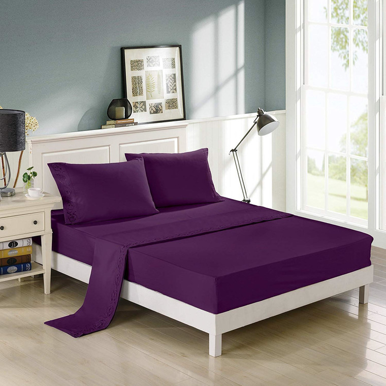 Purple Embroidered Bed Sheets Set -2800 Supreme Collection -Scroll Flowers Embroidery 288F Double Brushed Microfiber -Wrinkle Free, Fade Resistant, Ultra Soft - 4 Pieces Bedding Set